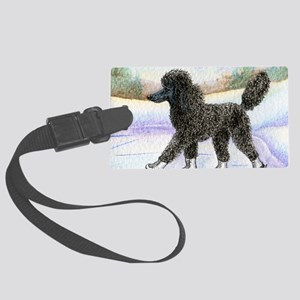 Black poodle takes to the ice Large Luggage Tag