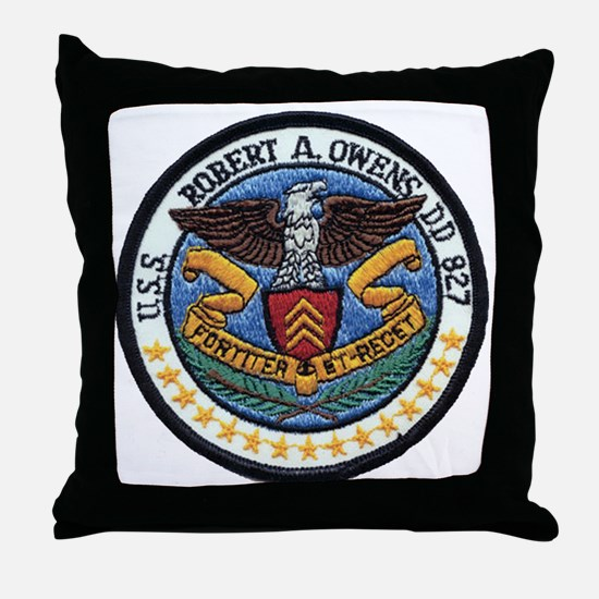 uss robert a. owens dd patch transpar Throw Pillow
