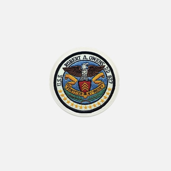 uss robert a. owens dd patch transpare Mini Button