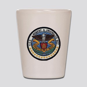 uss robert a. owens dd patch transparen Shot Glass