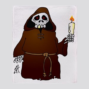 Skeleton monk habit wish you a scary Throw Blanket