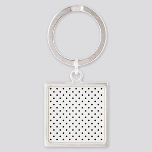 Black Polka Dot Pattern. Square Keychain