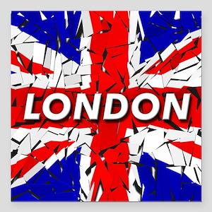 "London - Union Jack Square Car Magnet 3"" x 3"""
