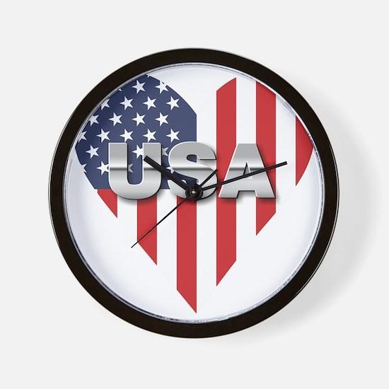 USA Heart Shaped Flag Wall Clock
