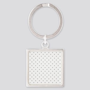 Light Gray Dot Pattern. Square Keychain