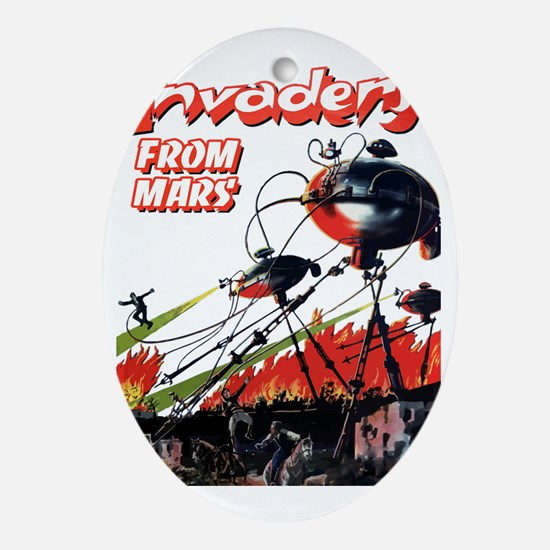 invaders from mars scifi vintage Oval Ornament