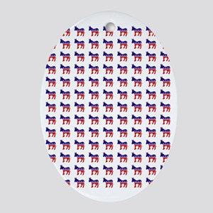 Democrat Donkey Pattern Oval Ornament