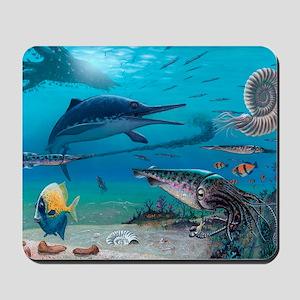 Ichthyosaur and prey Mousepad