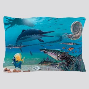 Ichthyosaur and prey Pillow Case