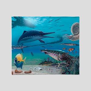 Ichthyosaur and prey Throw Blanket