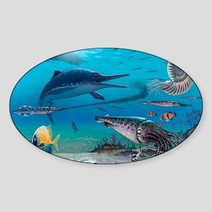 Ichthyosaur and prey Sticker (Oval)