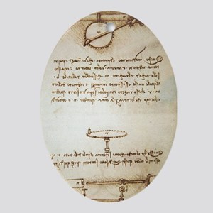 Leonardo's automatic bobbin winder Oval Ornament