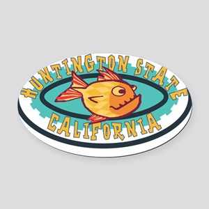 Huntington State Gearfish Patch Oval Car Magnet