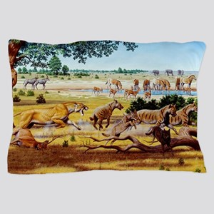 Hunting sabre-toothed cat Pillow Case