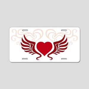 heart wings tribal floral Aluminum License Plate