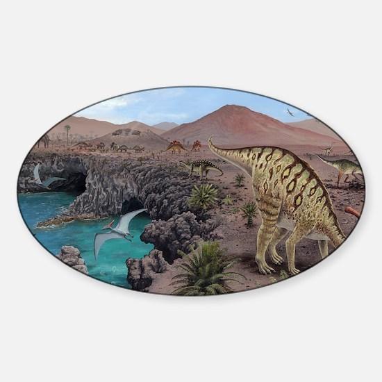 Mesozoic reptiles, artwork Sticker (Oval)