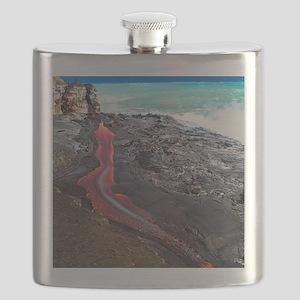 Lava flowing into ocean, Hawaii Flask