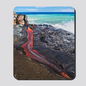 Lava flowing into ocean, Hawaii Mousepad
