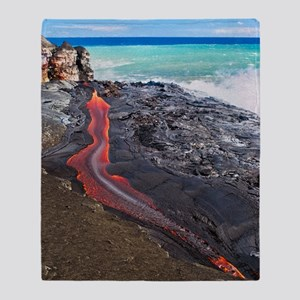 Lava flowing into ocean, Hawaii Throw Blanket