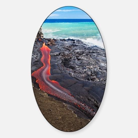 Lava flowing into ocean, Hawaii Sticker (Oval)