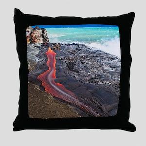 Lava flowing into ocean, Hawaii Throw Pillow