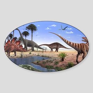 Jurassic dinosaurs Sticker (Oval)