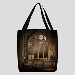Gothic Library Window Polyester Tote Bag