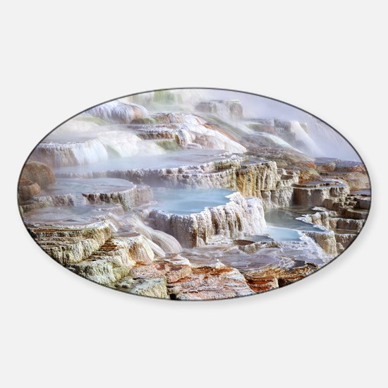 Mammoth Hot Springs mineral terrace Sticker (Oval)