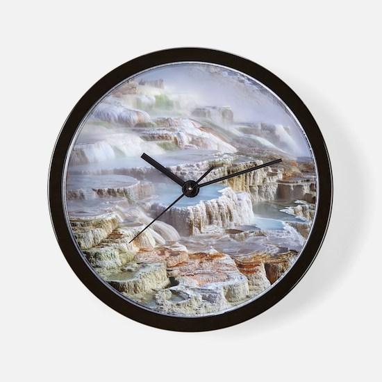 Mammoth Hot Springs mineral terrace Wall Clock