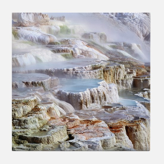 Mammoth Hot Springs mineral terrace Tile Coaster
