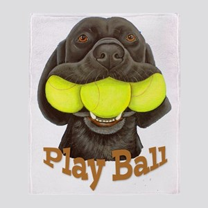Play Ball, Labrador with Tennis Ball Throw Blanket
