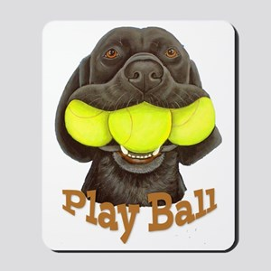 Play Ball, Labrador with Tennis Balls Mousepad