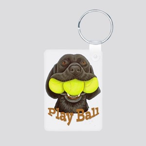 Play Ball, Labrador with T Aluminum Photo Keychain