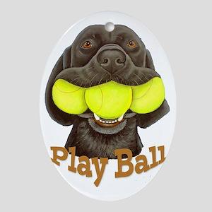Play Ball, Labrador with Tennis Ball Oval Ornament