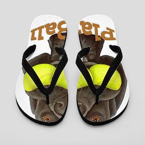 Play Ball, Labrador with Tennis Balls Flip Flops