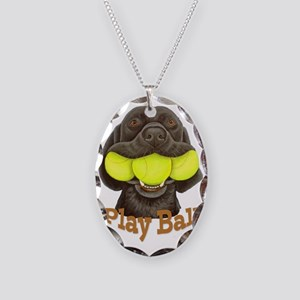 Play Ball, Labrador with Tenni Necklace Oval Charm
