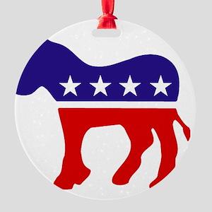 Democrat Party Donkey Round Ornament