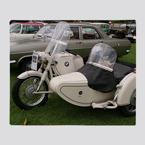 BMW Motorcycle with Sidecar Throw Blanket