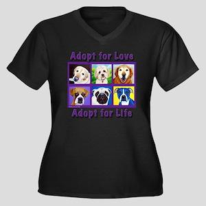 Adopt for Lo Women's Plus Size Dark V-Neck T-Shirt