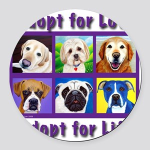 Adopt for Love, Adopt for Life Round Car Magnet