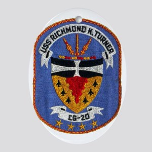 uss richmond k. turner cg patch tran Oval Ornament
