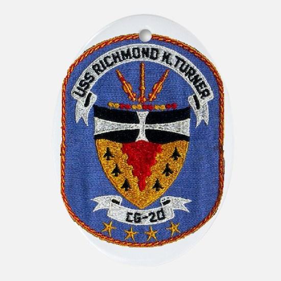 uss richmond k. turner cg patch tran Oval Ornament