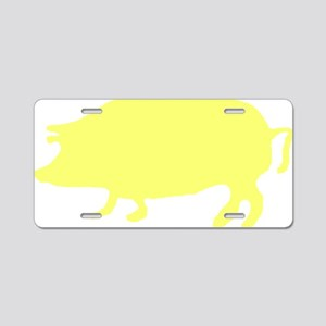 Yellow Pig Silhouette Aluminum License Plate