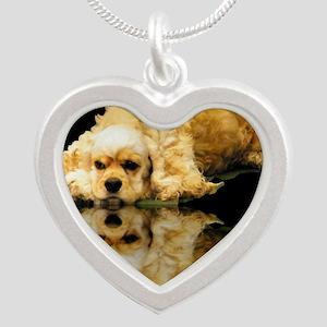 Cocker Reflection Silver Heart Necklace
