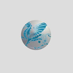 Blue  Silver Dragon Mini Button