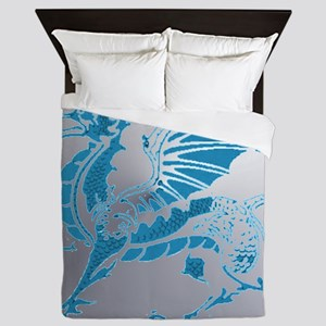 Blue  Silver Dragon Queen Duvet