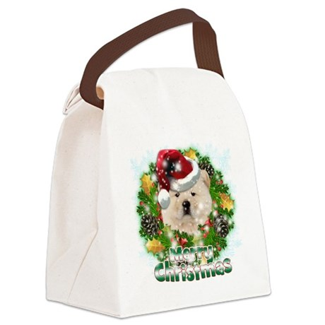 Merry Christmas Chow Chow Canvas Lunch Bag