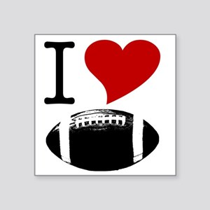 "I Heart Football Square Sticker 3"" x 3"""