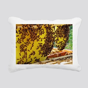 Honey bees on a beehive  Rectangular Canvas Pillow