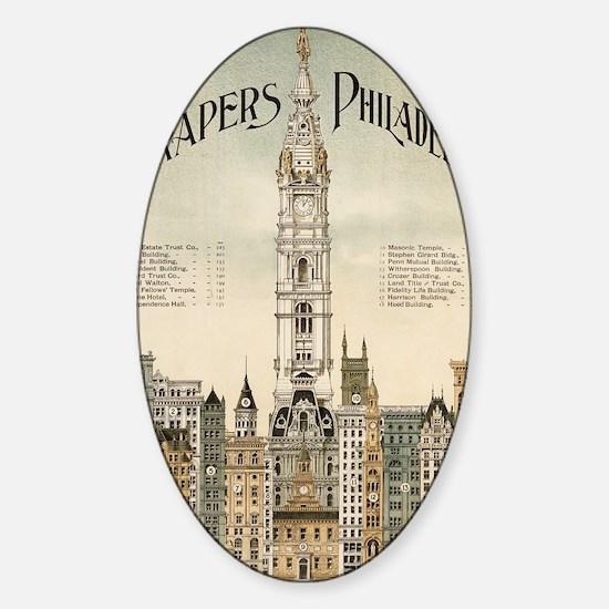 Skyscrapers Of Philadelphia Sticker (Oval)